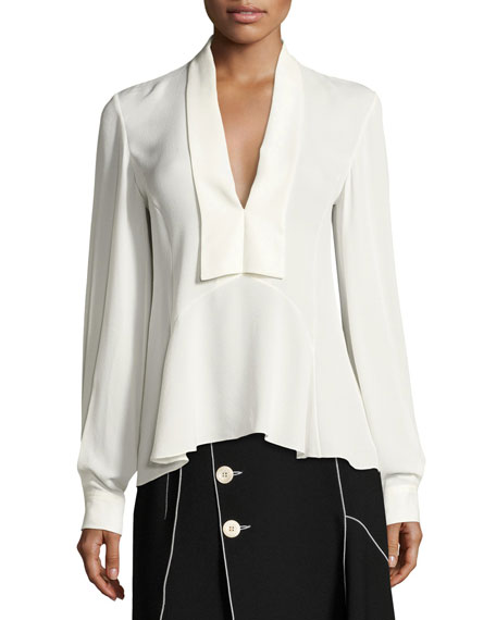 Derek Lam V-Neck Silk Blouse, White