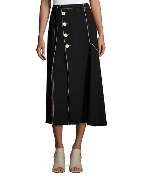 Derek Lam Crepe Side-Button Midi Skirt with Contrast