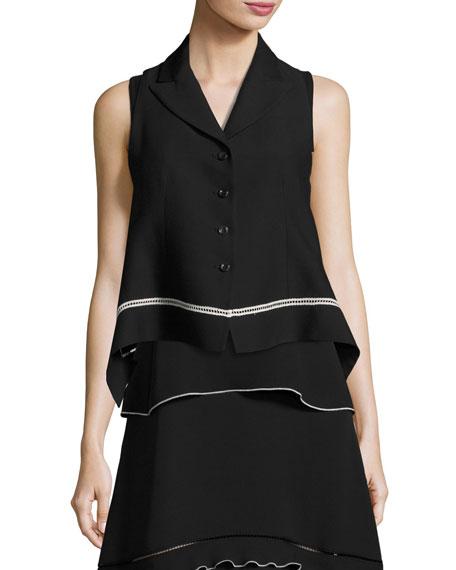 Cropped Vest with Contrast Lace Trim, Black