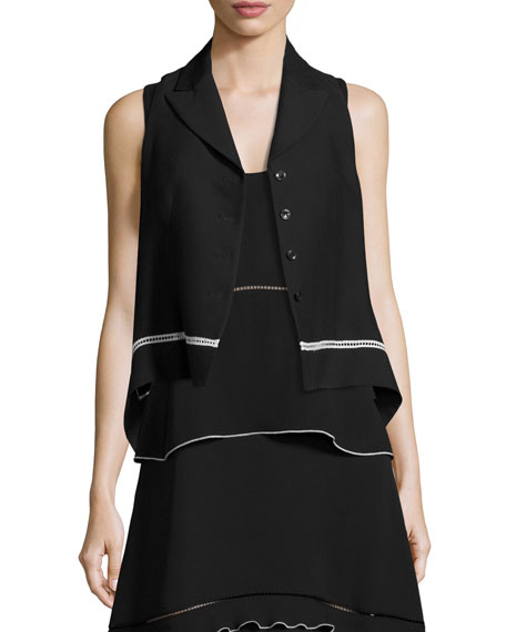 Derek Lam Cropped Vest with Contrast Lace Trim,