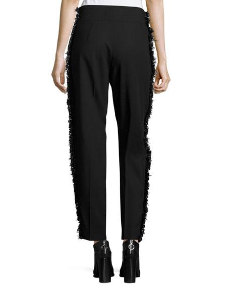 Fringe-Side Tapered Drawstring Pants, Black