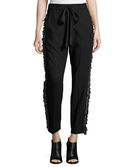 Derek Lam Fringe-Side Tapered Drawstring Pants, Black and