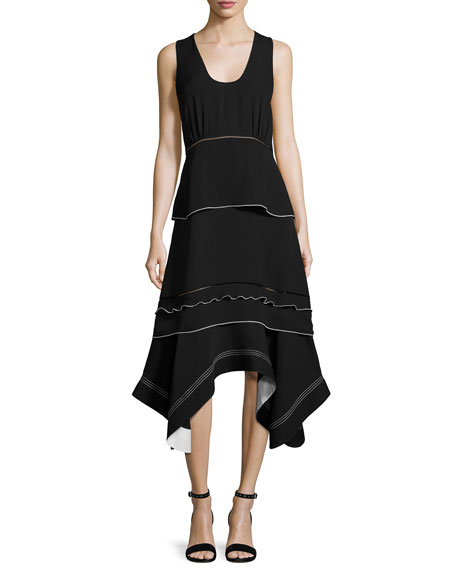 Derek Lam Sleeveless Handkerchief-Hem Midi Dress, Black and