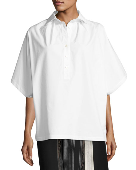 Oversized Short-Sleeve Shirt, White