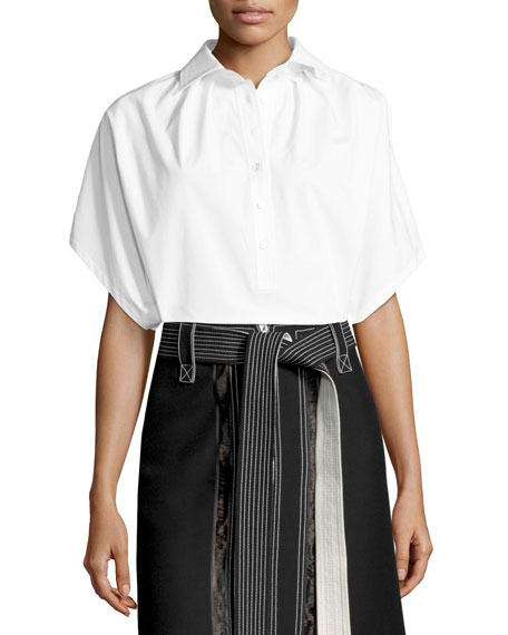 Derek Lam Lace-Inset Belted Zip-Front Skirt, Black and