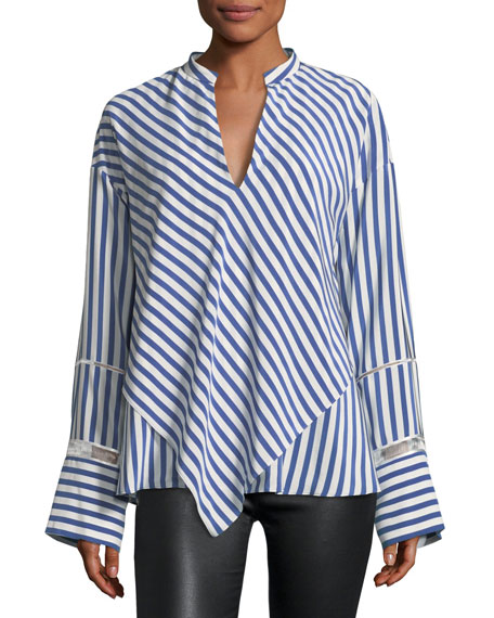 Derek Lam Lace-Inset Striped Silk Blouse w/ Handkerchief