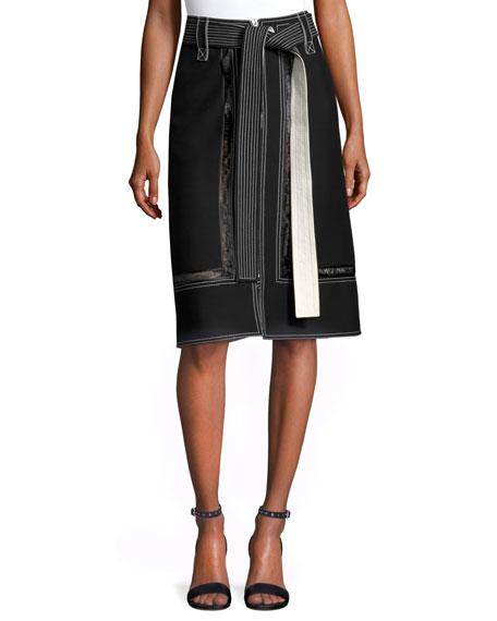 Derek Lam Lace-Inset Belted Zip-Front Skirt, Black