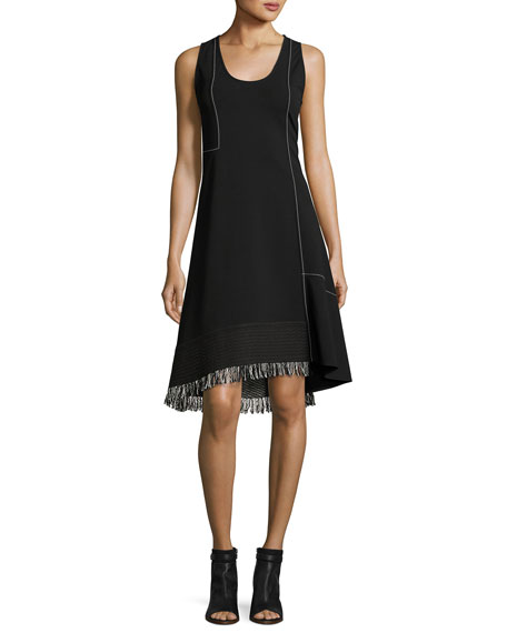 Sleeveless Scoop-Neck A-Line Dress with Fringe, Black
