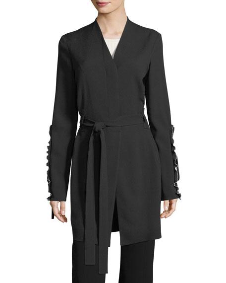 Crepe Ruffle-Sleeve Wrap Jacket
