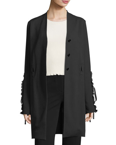 Crepe Ruffle-Sleeve Wrap Jacket