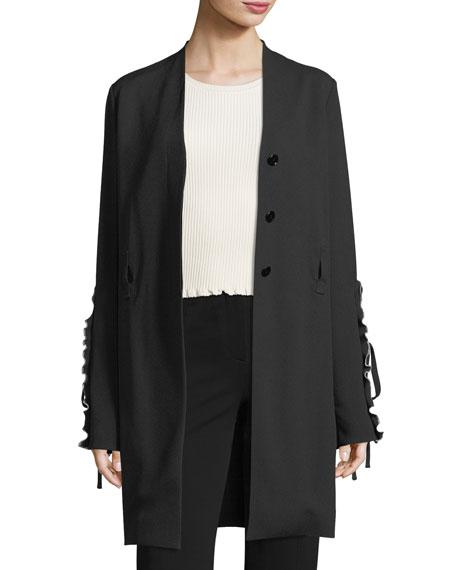 Derek Lam Crepe Ruffle-Sleeve Wrap Jacket