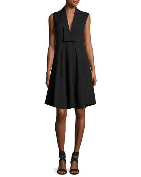 Derek Lam Sleeveless V-Neck Silk Dress, Black