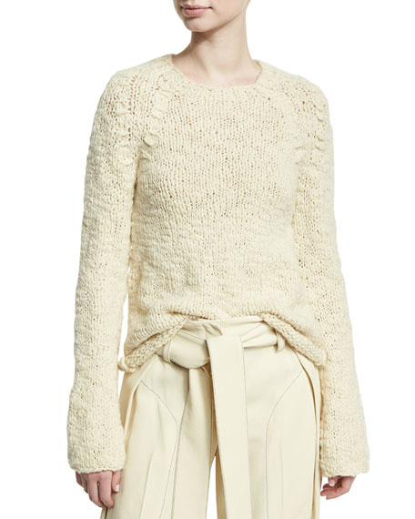 Derek Lam Bell-Sleeve Crewneck Sweater, Neutral