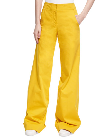 Derek Lam Wide-Leg Stretch Cotton Trousers, Yellow