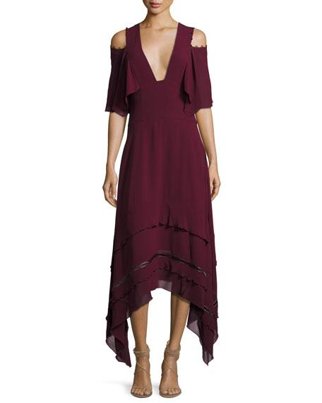 V-Neck Silk Georgette Midi Dress, Wine