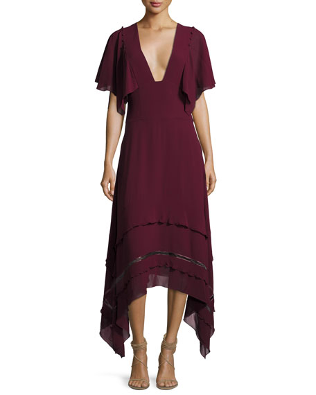 Derek Lam V-Neck Silk Georgette Midi Dress, Wine
