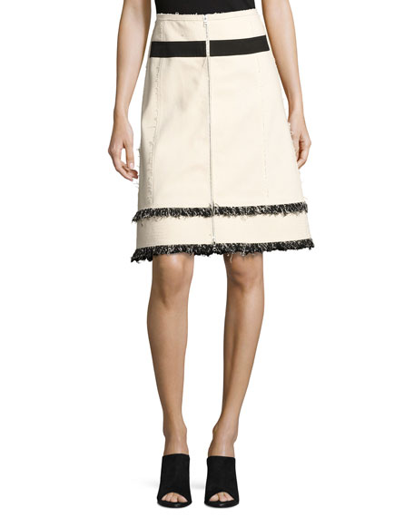 Derek Lam Mixed-Media Fringe Zip-Front Denim Skirt, White