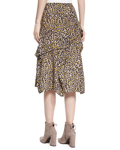 Tiered Leopard-Print Silk Midi Skirt, Yellow
