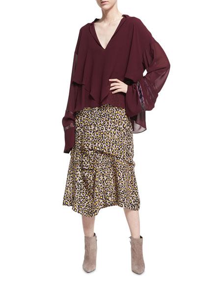 Tiered Leopard-Print Silk Midi Skirt, Yellow