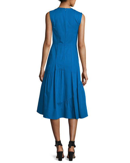 Sleeveless Shirred-Skirt Midi Dress, Turquoise