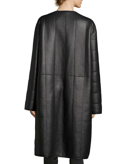Lonan Lamb Leather & Shearling Coat, Black