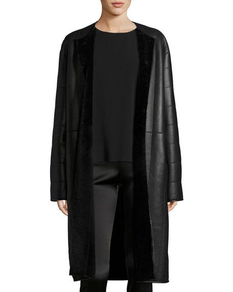 THE ROW Lonan Lamb Leather & Shearling Coat,