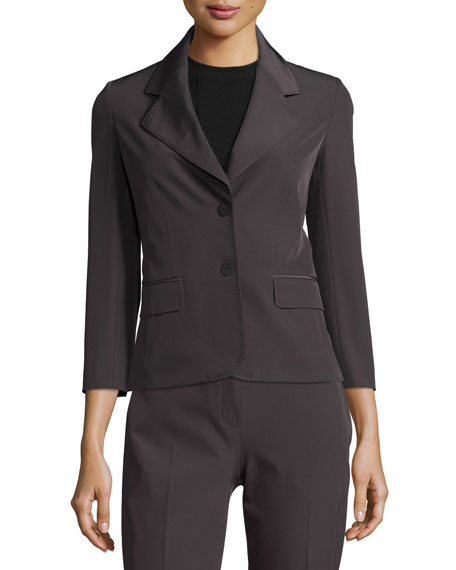 Mira Two-Button Jacket, Dark Gray