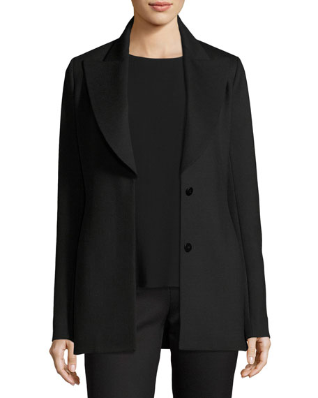 THE ROW Demilla Two-Button Stretch-Wool Jacket, Black
