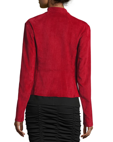 Tripton Stretch-Suede Zip-Front Jacket, Crimson