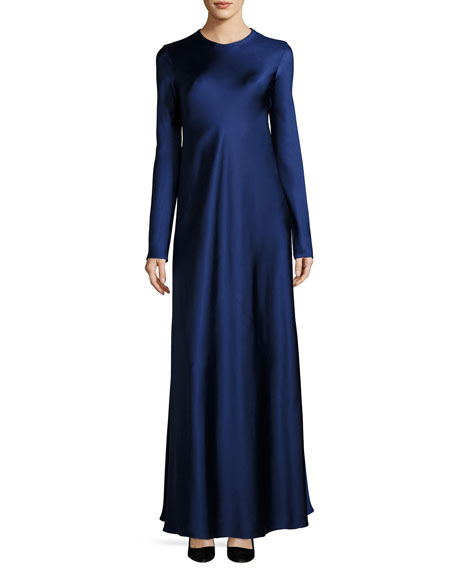 Yulia Long-Sleeve Satin Gown, Dark Blue
