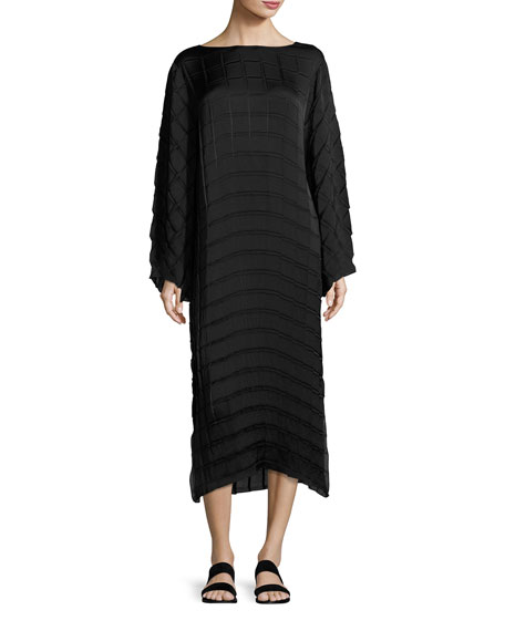 Melanie Pleated Crepe Midi Dress, Black