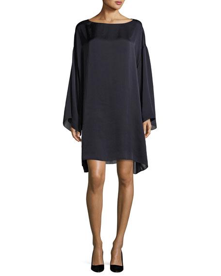 THE ROW Tharpe Charmeuse Long-Sleeve Minidress, Navy