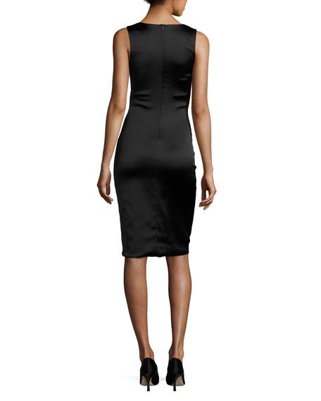 Hurel Sleeveless Satin Fitted Dress, Black