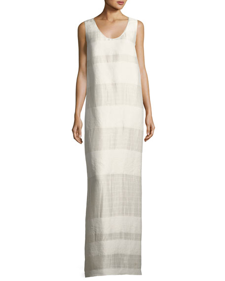 The Row Yellin Sleeveless Textured Stripe Linen Silk Maxi