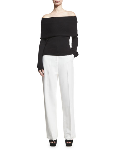 Stretch-Cady Straight-Leg Trousers, White