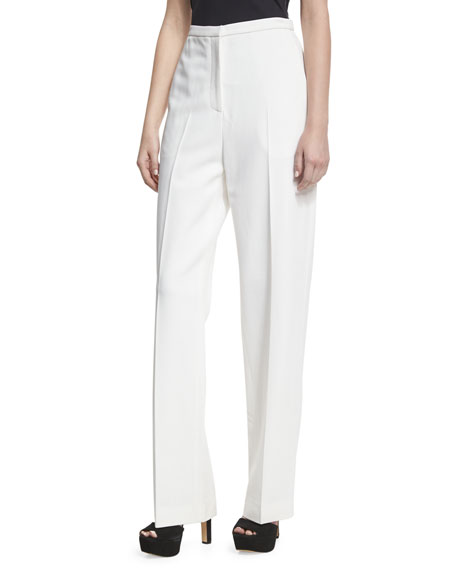Rosetta Getty Stretch-Cady Straight-Leg Trousers, White