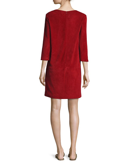 Rina Stretch-Suede 3/4-Sleeve Shift Dress, Crimson