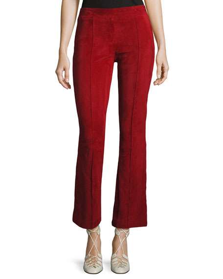 THE ROW Athby Suede Kick-Flare Leggings, Crimson