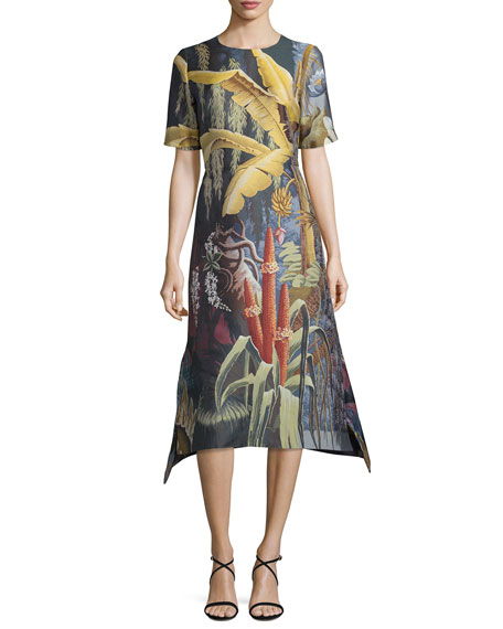 Adam Lippes Eden Jacquard Short-Sleeve A-Line Dress, Multi