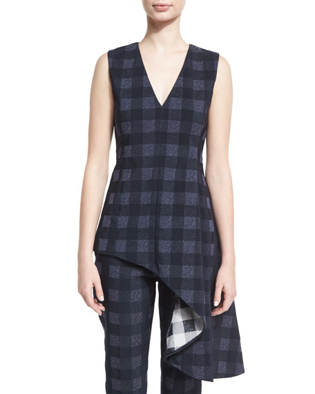 Rosetta Getty Sleeveless Gingham Asymmetric Drape Top, Navy