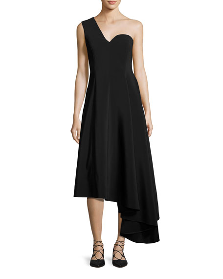 Rosetta Getty One-Shoulder A-Line Dress with Asymmetric Hem,