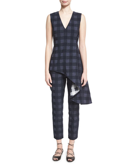 Gingham Cropped Skinny Trousers, Navy