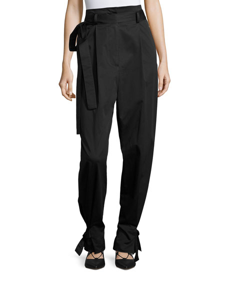 Sateen Belted High-Rise Paperbag Trousers, Black