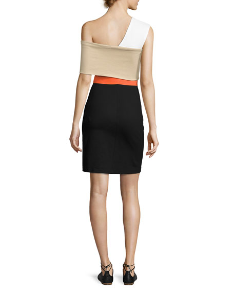 One-Shoulder Banded Colorblock Minidress, Black Multi