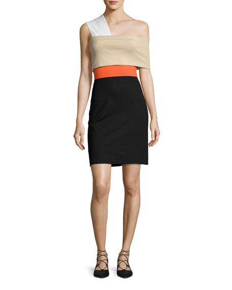 Rosetta Getty One-Shoulder Banded Colorblock Minidress, Black