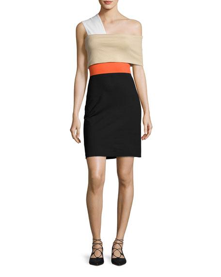 One-Shoulder Banded Colorblock Minidress, Black Multi