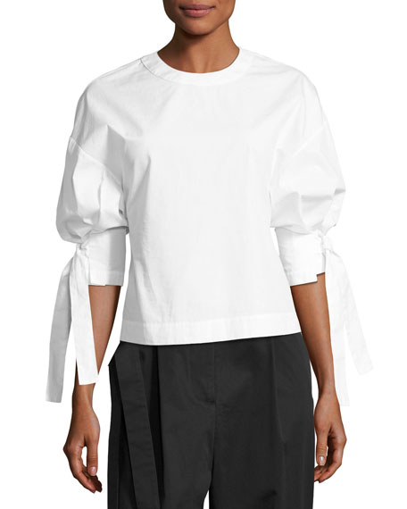Balloon-Sleeve Blouse, White