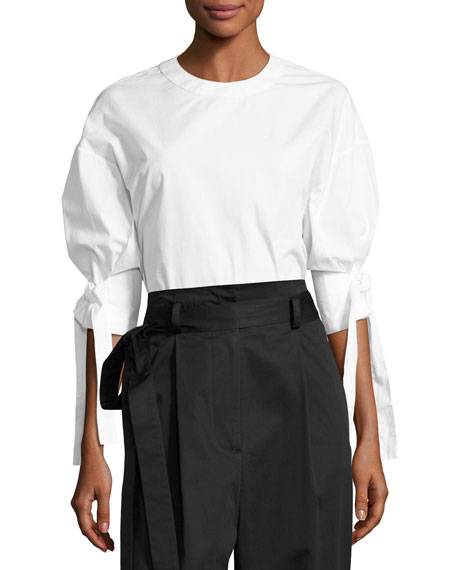 Rosetta Getty Sateen Belted High-Rise Paperbag Trousers, Black
