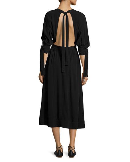 Tie-Sleeve Cutout-Back Midi Dress, Black