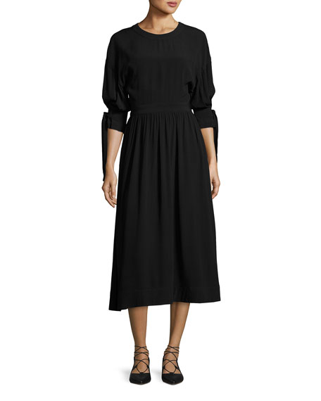 Tie-Sleeve Cutout-Back Midi Dress, Black
